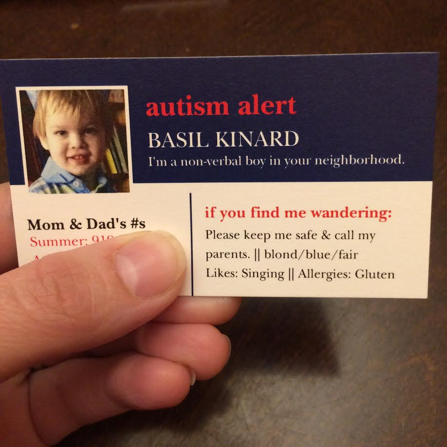 A card the size of a business card has the nonverbal child's name and picture, as well as brief information that would help someone reunite him with his family.